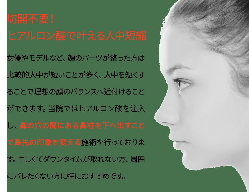 ヒアルロン酸 鼻中隔延長・人中短縮モニター予約はこちら