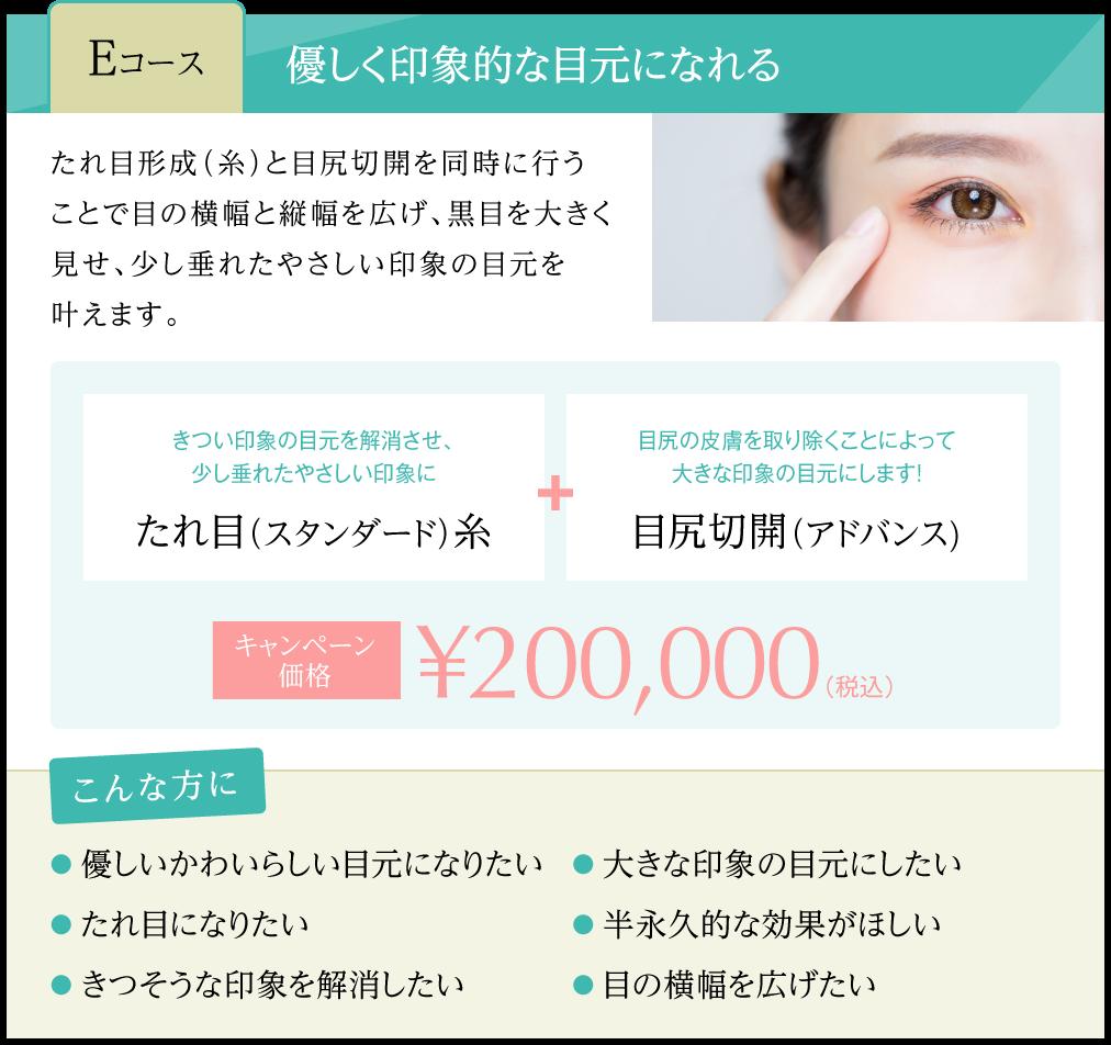 タレ目スタンダード糸 + 目尻切開