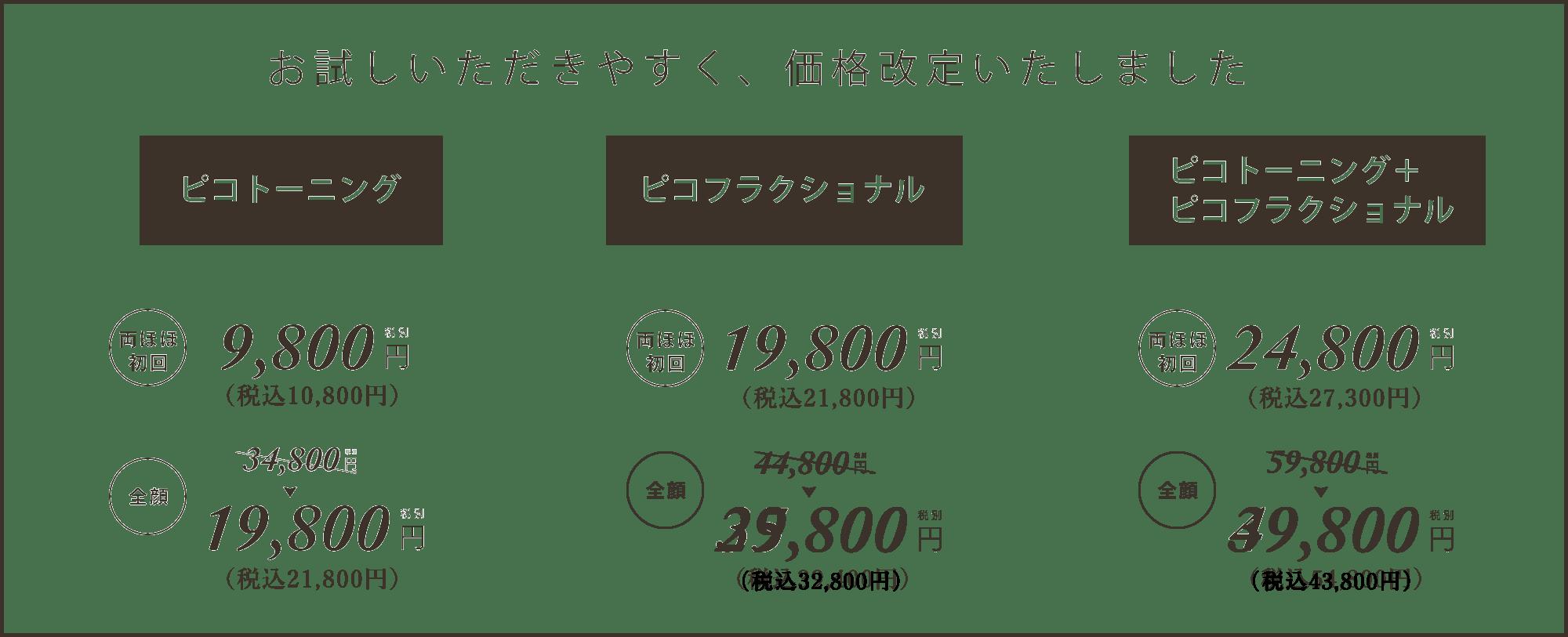 PICO LASER 価格改定