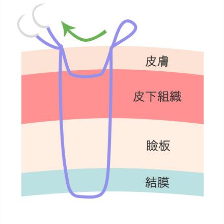 ②糸を通した穴から再度通し反対側の糸の穴へ向かって通します。